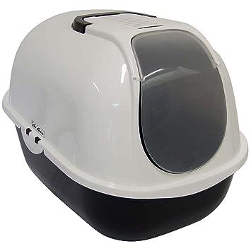 Bandeja de aseo con cubierta para gatos, con filtro de carbón y puerta abatible, color gris y blanco: Amazon.es: Productos para mascotas