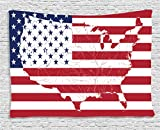 Ambesonne American Flag Decor Tapestry, America Continent Shaped Flag Martial International World Glory Print, Wall Hanging for Bedroom Living Room Dorm, 60 W X 40 L inches, Navy Red