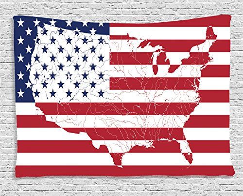 Ambesonne American Flag Decor Tapestry, America Continent Shaped Flag Martial International World Glory Print, Wall Hanging for Bedroom Living Room Dorm, 80 W X 60 L inches, Navy Red