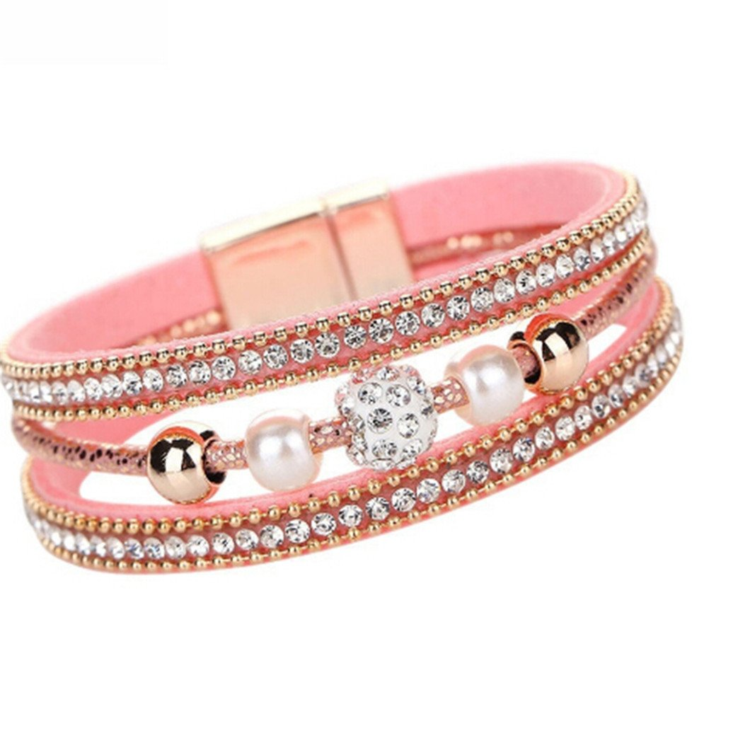 Gluckliy Women Bohemian Bracelet Rhinestone Beads Woven Braided Bracelet Bangle Jewelry Accessories (Pink) fangqiang