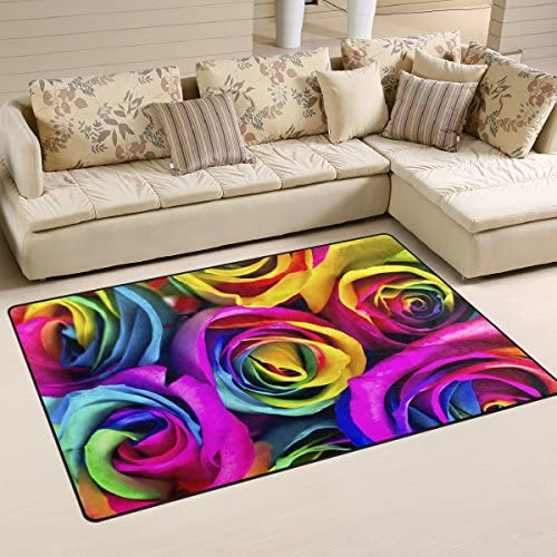 WOZO Watercolor Rainbow Rose Area Rug Rugs Non-Slip Floor Mat Doormats Living Dining Room Bedroom Dorm 60 x 39 inches inches Home Decor