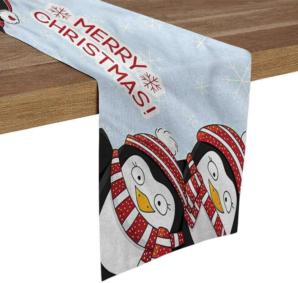 SoSung Black and White Table Runner 13x120 Inch Christmas,Cute Penguins Kids for Farmhouse Kitchen,Dinner Holiday Parties,Wedding,Events,Decor