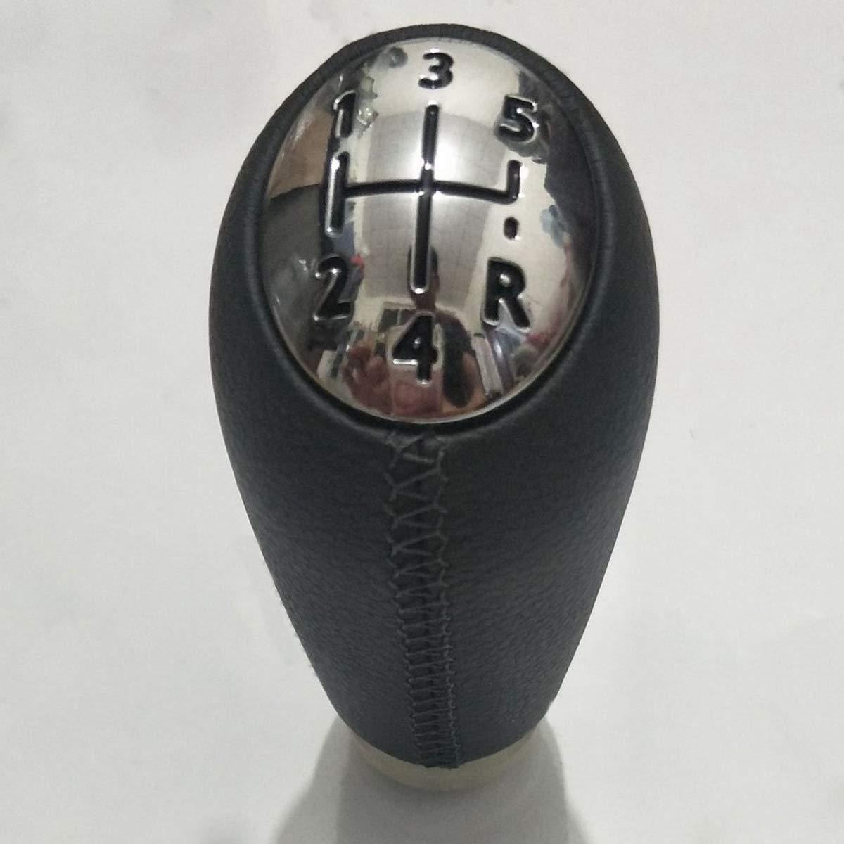 Lopbinte Baton de T/ête de Bouton de Vitesse de Changement de Voiture en Cuir /à 5 Vitesses pour Renault Laguna Megane 2 Clio 3 2003-2009 Kangoo 2009