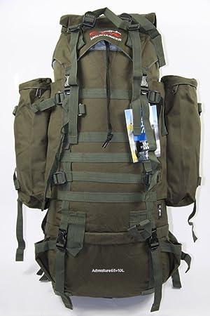 ac399bebe4 Brand New Military 65L +10L CAMO GREEN RUCKSACK BACKPACK CAMPING HIKING  BAG  Amazon.co.uk  Sports   Outdoors