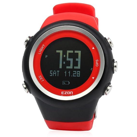 Leopard Shop ezon Hombres Reloj Deportivo Running GPS Series resistente al agua exterior rojo: Amazon.es: Relojes