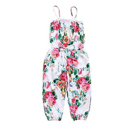 91f870af6c60 KIDSA 2-7T Toddler Baby Little Girls One-Pieces Floral Ruffles Corset  Jumpsuit Harem