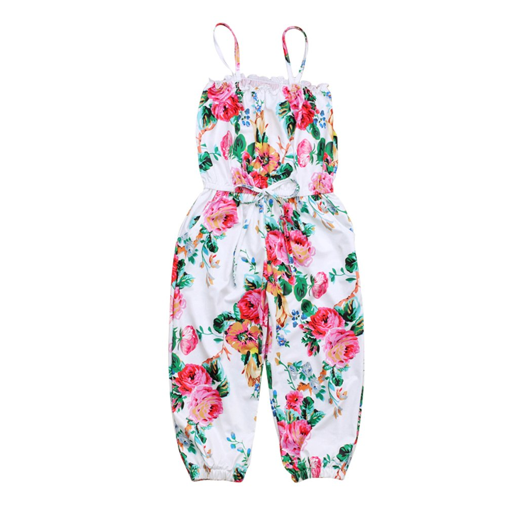 KIDSA 2-7T Toddler Baby Little Girls One-Pieces Floral Ruffles Corset Jumpsuit Harem Pants