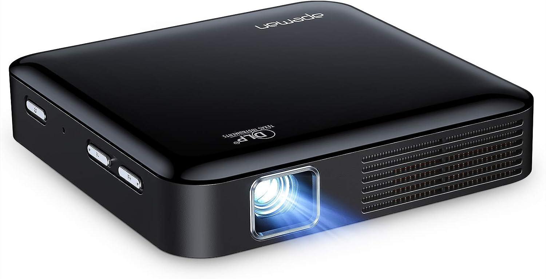 Mini proyector DLP, proyector portátil APEMAN, batería Recargable, corrección Trapezoidal electrónica de ± 40 °, Control del Panel táctil, para Cine ...