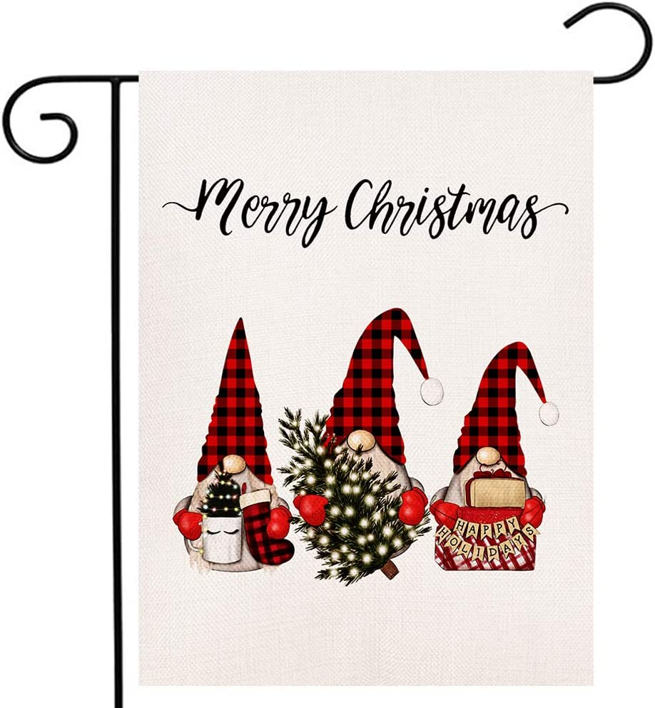 Christmas Gnomes Garden Flag Vertical Double Sided Merry Xmas New Year Farmhouse Burlap Yard Outdoor Flag (12.5 x 18 Inches)