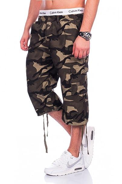 f66157919f Pantalones Cortos de Carga para Hombres 3 4 Bermuda Camuflaje Military  Capri H1438