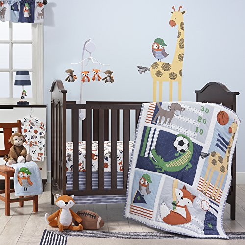 Bedtime Originals Baby League Gray/Blue 7-Piece Baby Crib Bedding Set - Boy Sports/Animal Theme