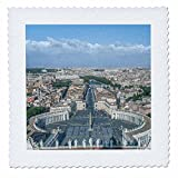 3dRose Danita Delimont - Cities - Italy, Rome, Vatican City. Looking down on St. Peters Square. - 16x16 inch quilt square (qs_277652_6)