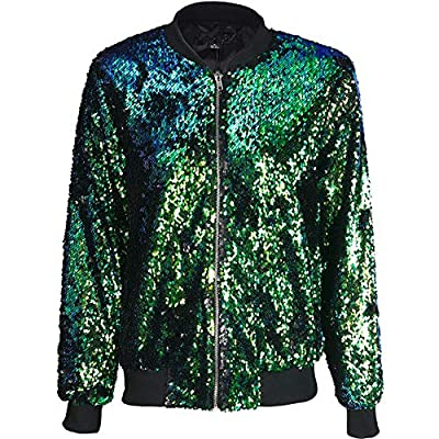 Cresay Women's Sequin Fitted Long Sleeve Zipper Blazer Bomber Jacket at Women's Clothing store