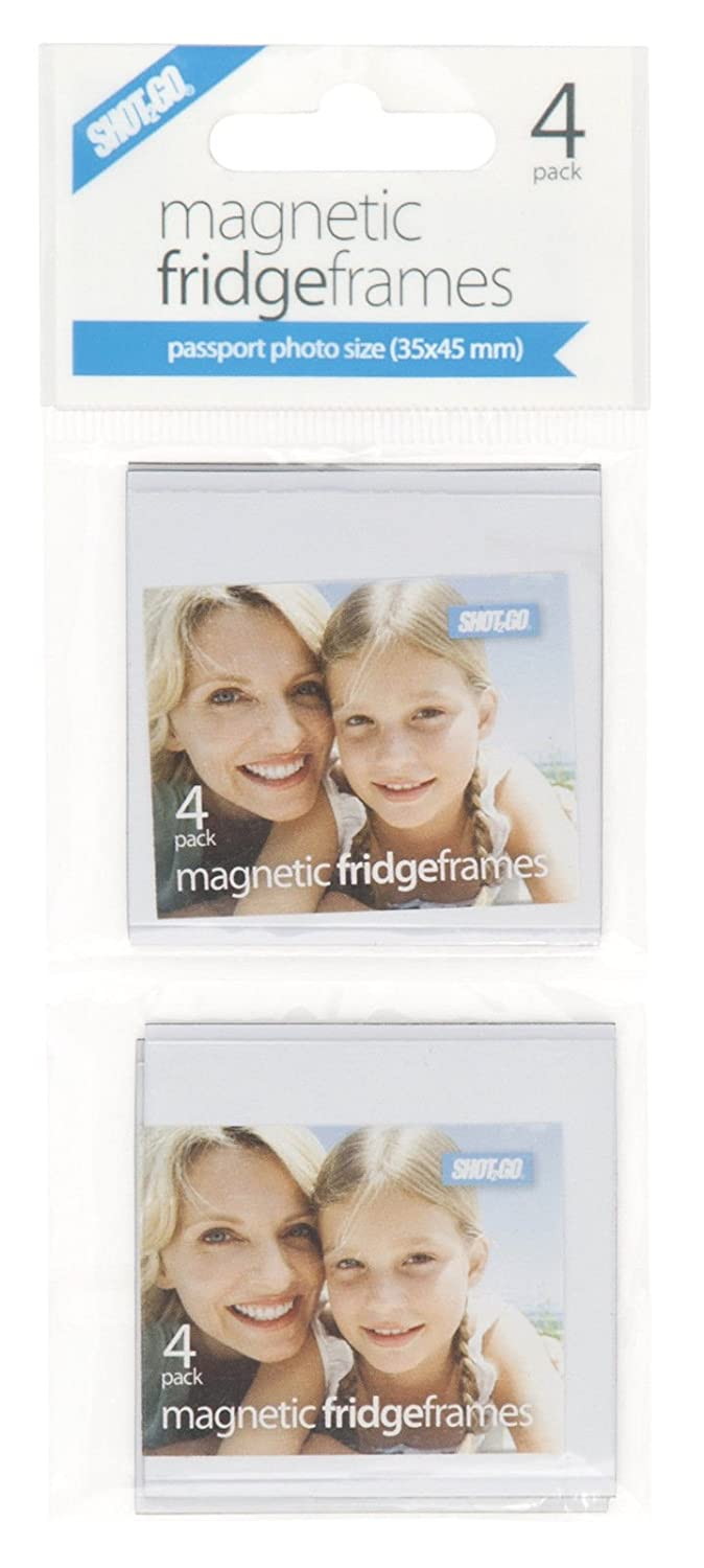 Shot2go personalised magnetic photo fridge frame clear pockets passport 35x45mm 4 pack
