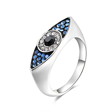 cb3a90525b28af Women's Evil eye Rings CZ Crystals Rose Gold Platinum Plated Wedding Jewelry  Finger Ring For Women