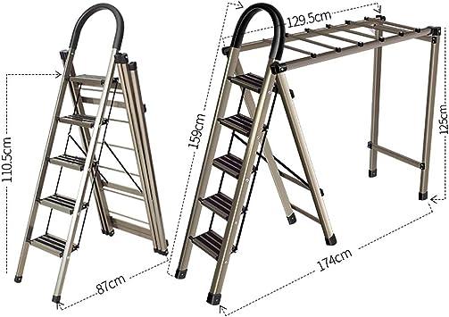 Escaleras Escalera de uso múltiple for uso doméstico + Tendedero, Escalera plegable portátil, Escalera de tijera, Escalera telescópica, Escalera de tijera de jardín en la oficina del hogar, Antidesliz: Amazon.es: Bricolaje y