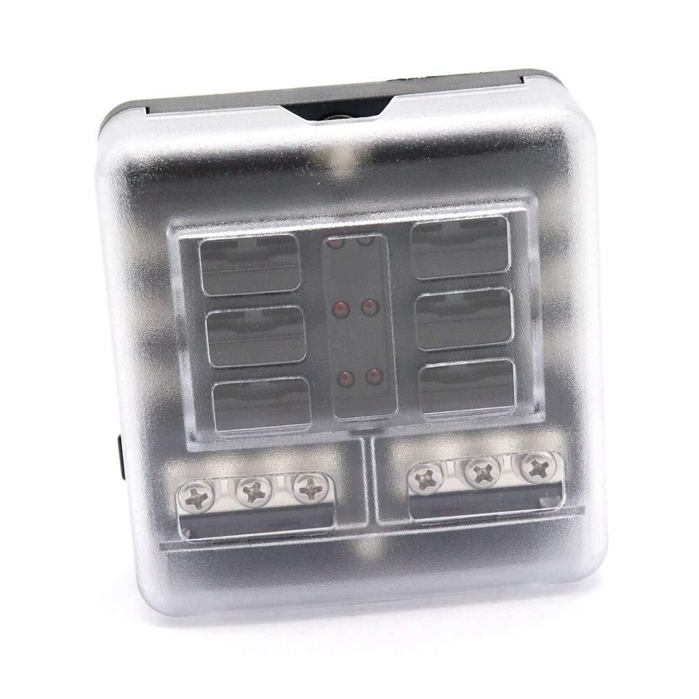 Morza 6-Fach Sicherungskasten Block Sicherungsklingentyp-Halter-Auto-Tr/äger Schaltung LED Anzeige Auto-Zubeh/ör