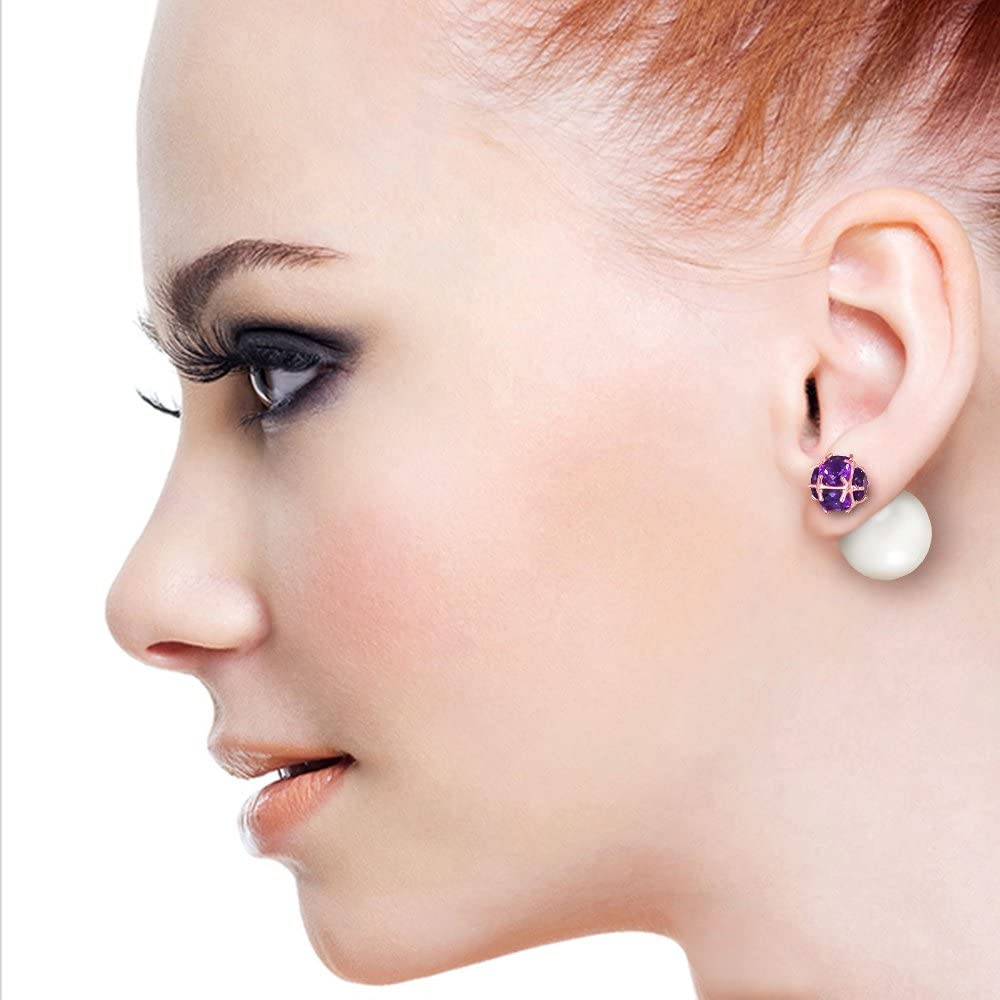 Galaxy Gold 14k Rose Gold Fashion Shell Pearl and Amethyst Stud Earrings