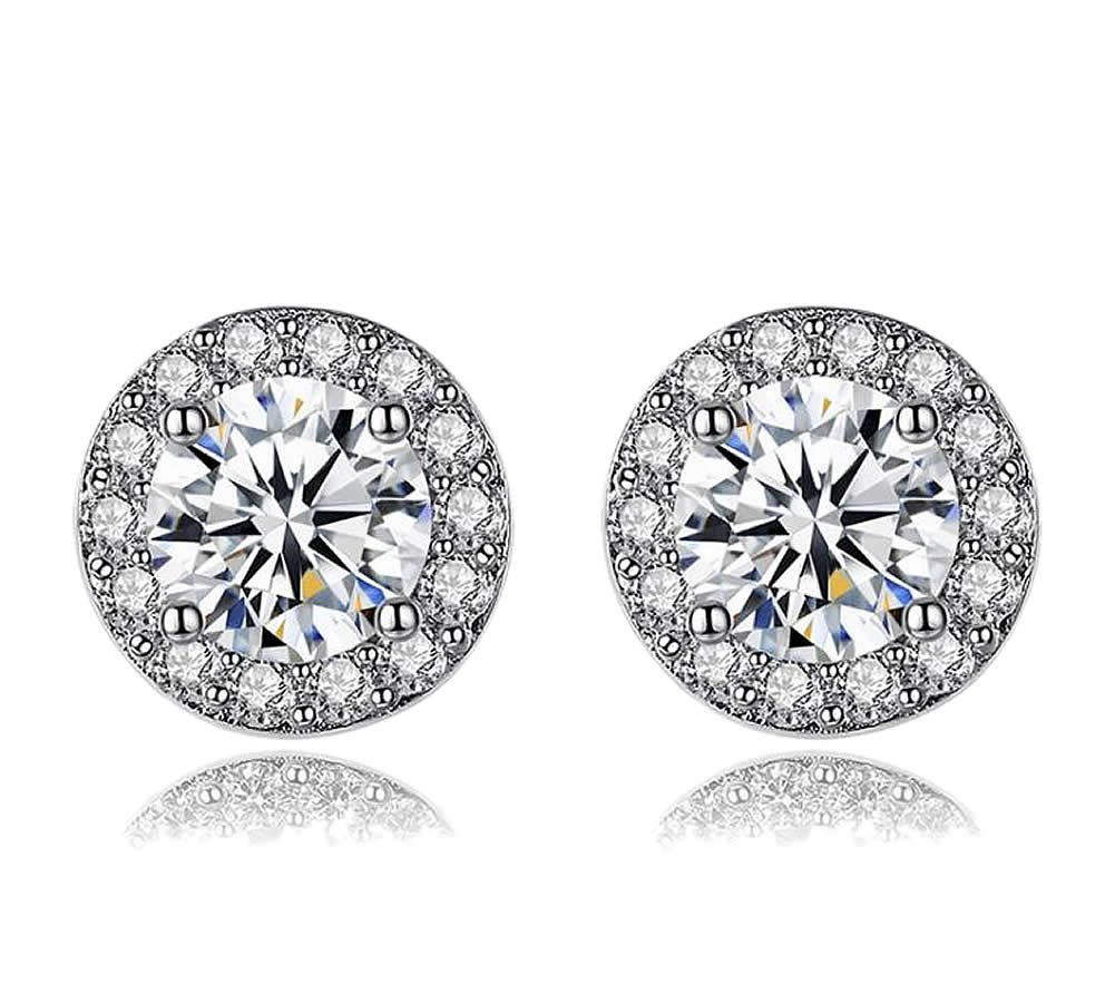 Wonvin 925 Silver Plated Shining Cubic Zirconia Round Shaped Stud Earrings