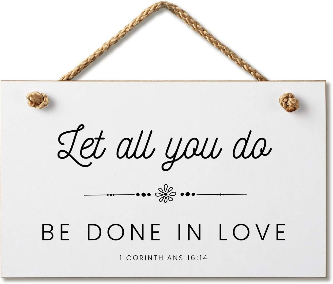 Marvin Gardens Designs Farmhouse Style Bible Verse Wall Decor Wood Sign 9.5 x 5.5 Inch Wood Made in The USA (Let All You Do (White), 9.5 x 5.5)