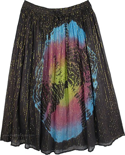 - TLB Aurora Northern Sky Tie Dye Tinsel Sparkling Skirt - L:35