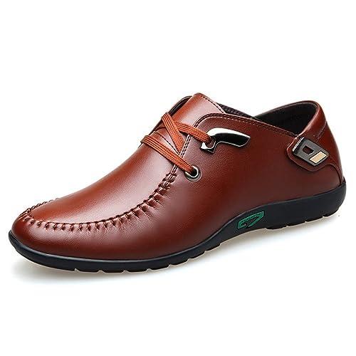 5baa3f2bcce11c Homme Chaussure de Conduite de Ville en Cuir Souple Chaussure de Loisir a  Lacet Résistant à