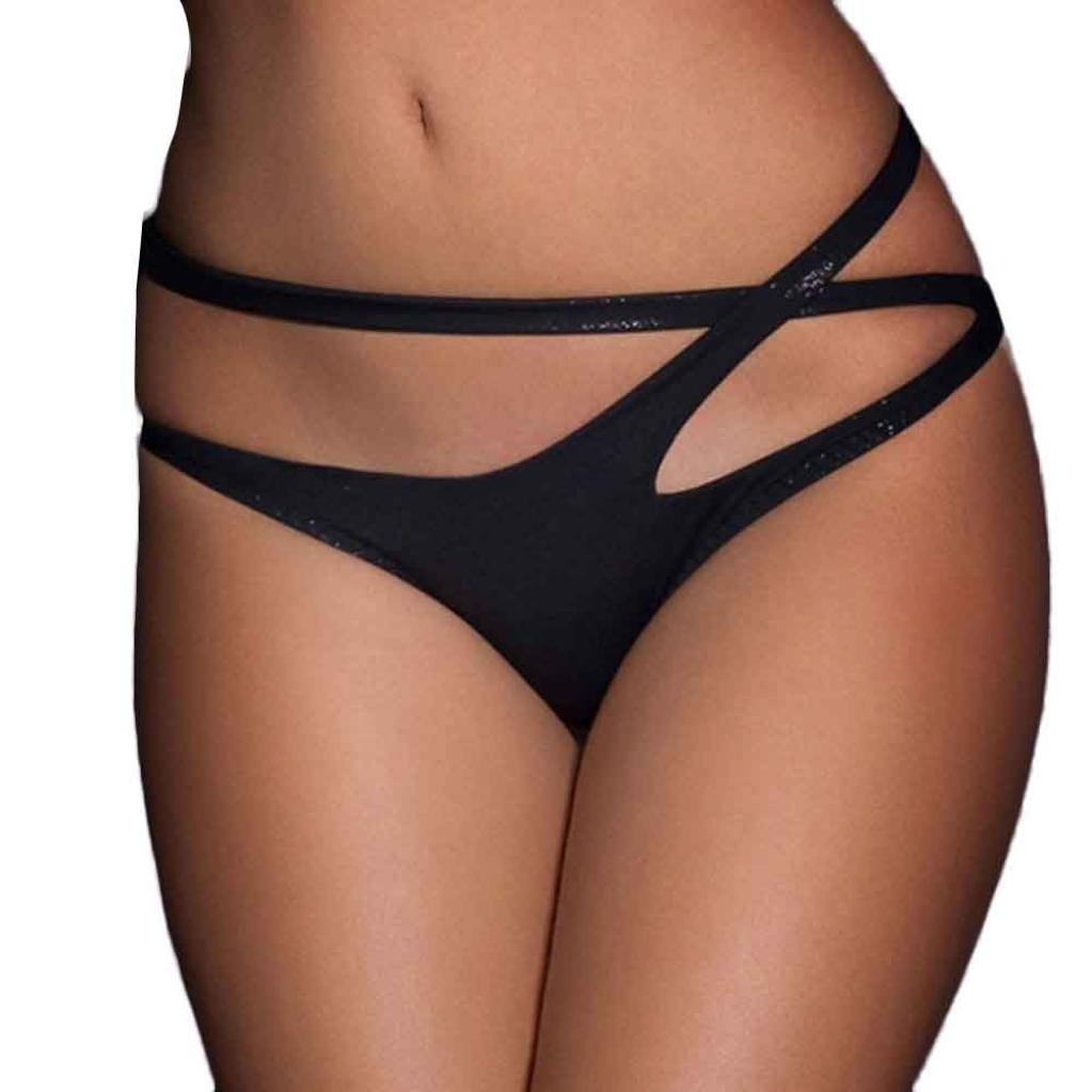 Anshinto Women Bandage Open Crotch Crotchless Panties Thong V-string Lingerie Underwear (XXXL, Black)