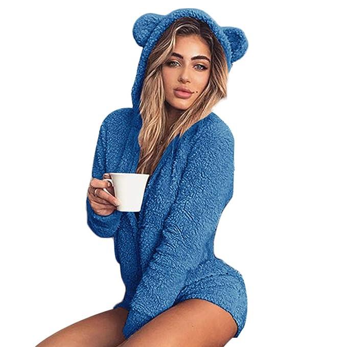 Junkai Pijama de otoño Invierno Pijama de Las Mujeres Mono Plisado Traje de Lana Caliente Kawaii