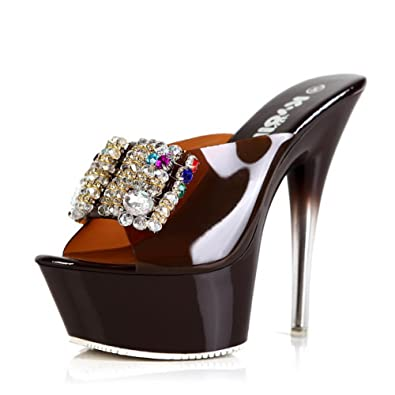 2918ed9b6a8d Kvoll Women s Candy Resin High Platform Crystal Heels Slippers Bowknot  Rhinestones