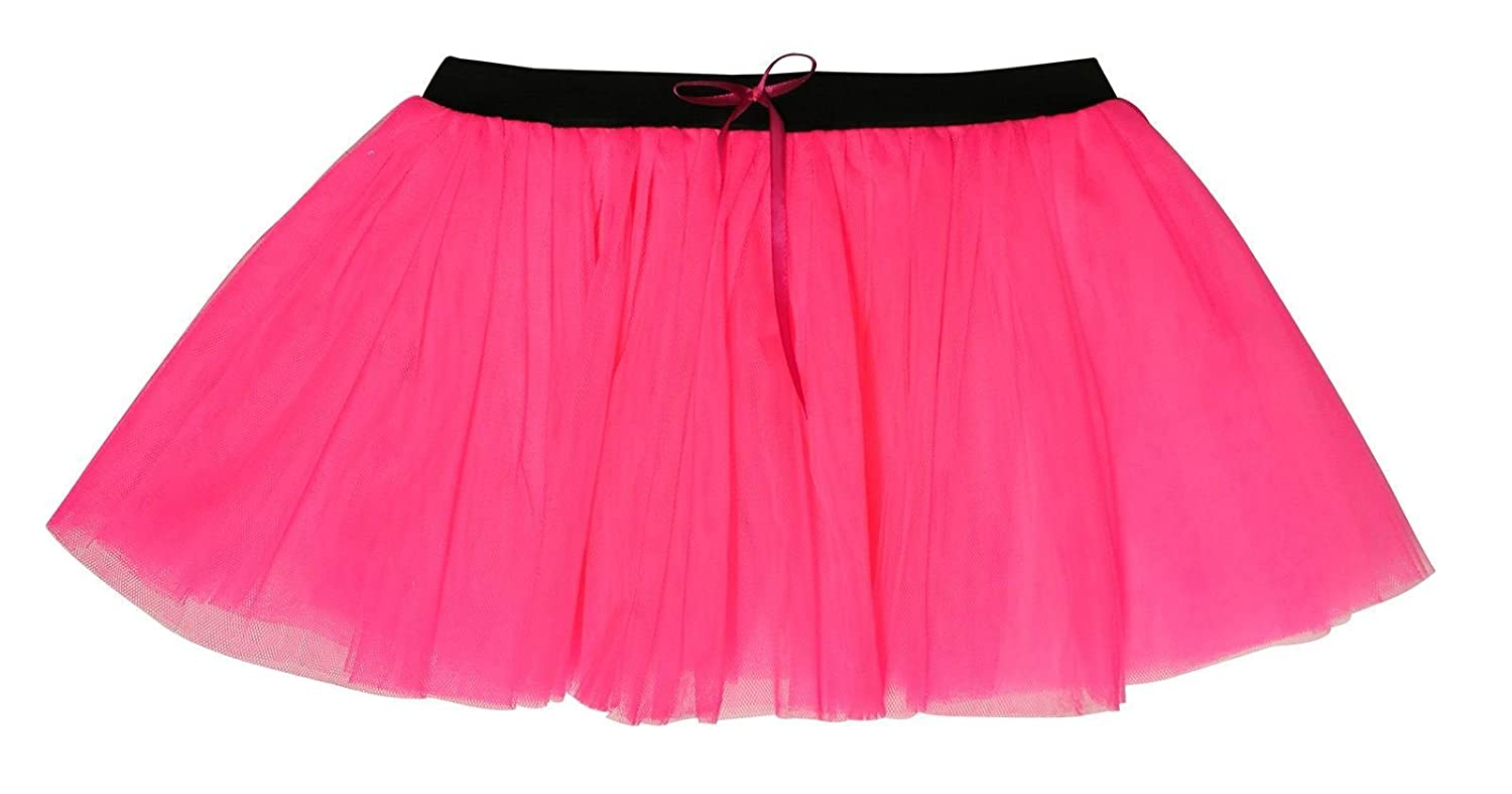 b8b50a8fa9 14 Inch Long 3 Layer Full Neon Pink Tutu Skirt - size 10 to 16:  Amazon.co.uk: Clothing