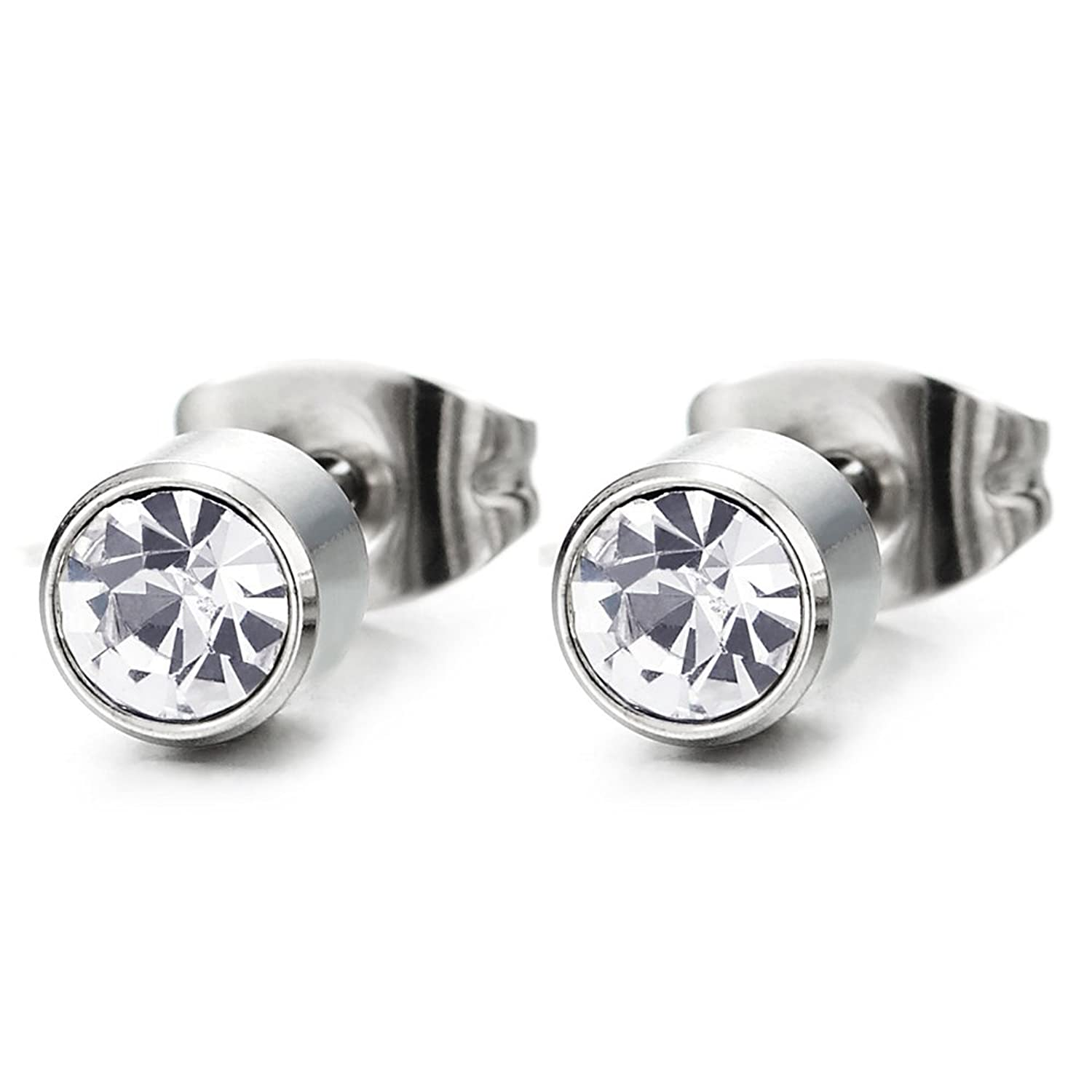 5MM Mens Womens Circle Stud Earrings Stainless Steel with Cubic Zirconia, 2pcs
