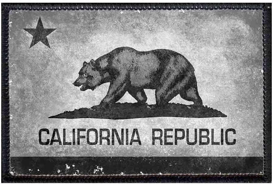 Iron on Grey and Black Grizzly Bear California Republic Patch CA Flag
