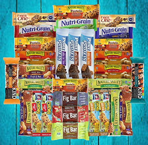 Fitness Box - Protein & Healthy Granola Bars Sampler Snack Box (30 Count) - Care Package - Gift Pack - Variety of Fitness, Energy Bars and KIND Bars. (Send Snack Gift Basket)
