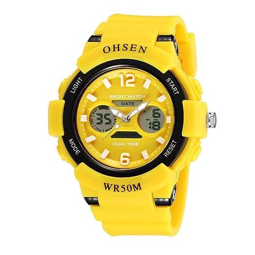 relojes digitales de moda fresco del deporte al aire libre para adolescentes llevado de múltiples correa de goma de color amarillo claro: Amazon.es: Relojes
