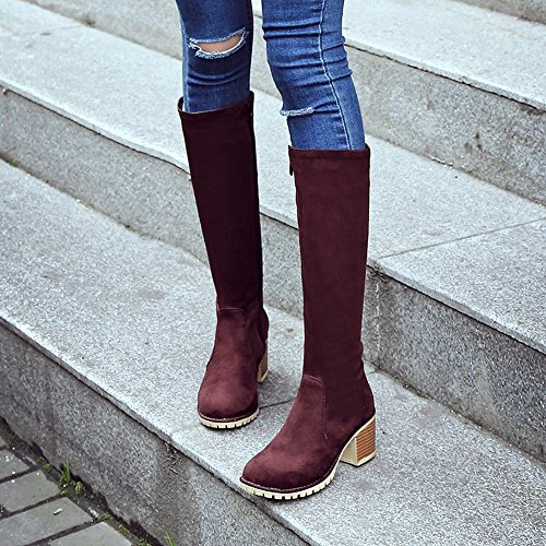 Casual Brown Heel Mid Red Women's Boots Zip High Knee Carolbar Fx5vZn