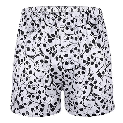 (YiZYiF Men's Silk Lips Print Frilly Shiny Satin Boxer Shorts Lounge Underwear Halloween (Large(Waist:33.0-51.0
