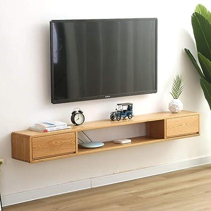 Estantería de pared de madera maciza Mueble TV de pared Con cajon ...