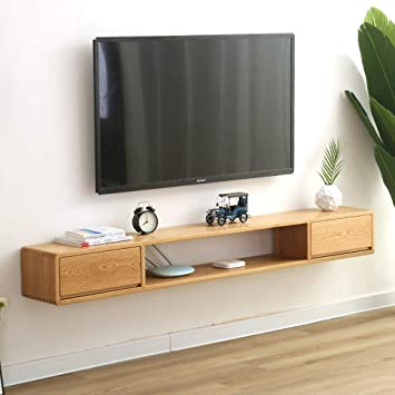 Estantería de pared de madera maciza Mueble TV de pared Con cajon Estante flotante Set top
