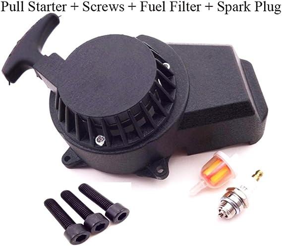 Fuel Filter Spark Plug TC-Motor Black Aluminum Easy Recoil Pull Starter Screws For 47cc 49cc Engine Parts Mini Moto Dirt Pocket Bike ATV Quad