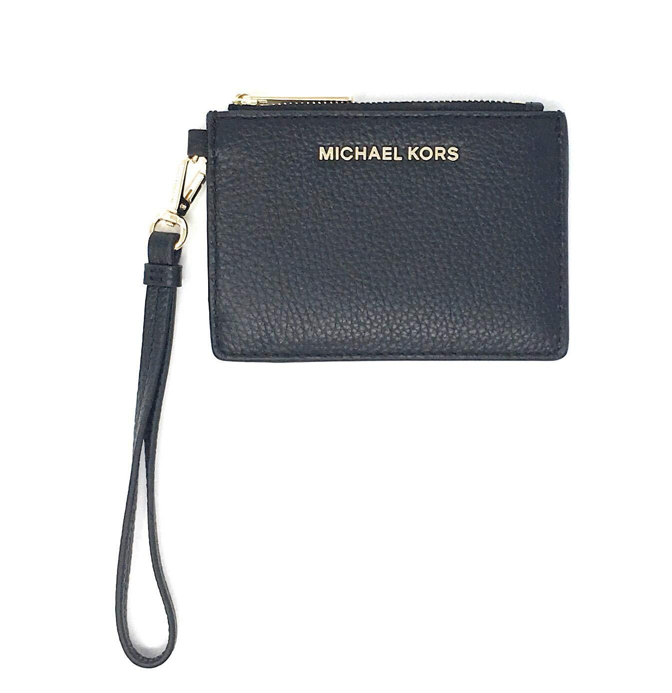 Michael Kors Jet Set Travel Coin Purse Wristlet Leather Card Case Black by Michael Kors