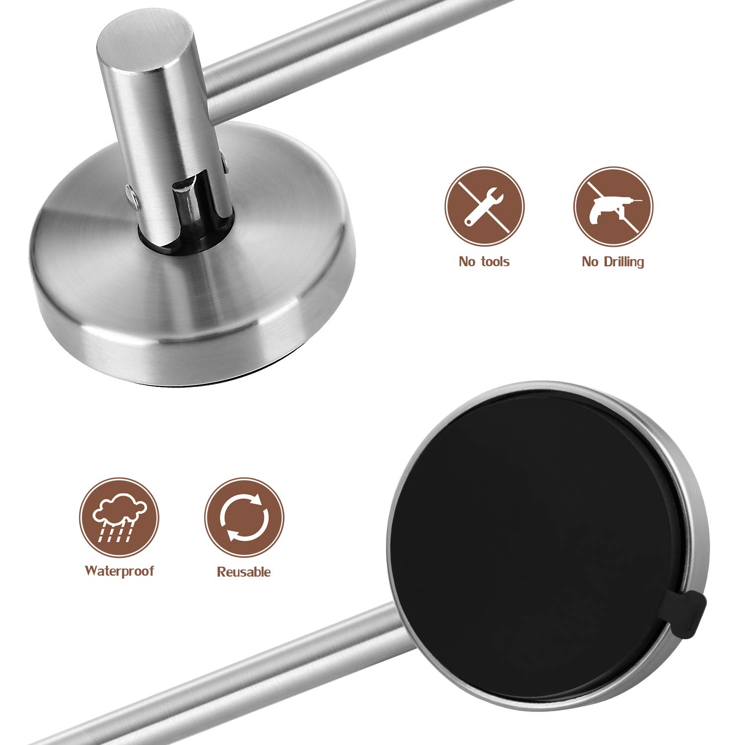LUXEAR Suction Cup Towel Bar 24IN Powerful Removable Suction Cup Towel Shower Hook Vacuum Shower Mat Rod Shower Door Adhesive Towel Rack Bathroom Towel Holder Stainless with 8 Hooks.