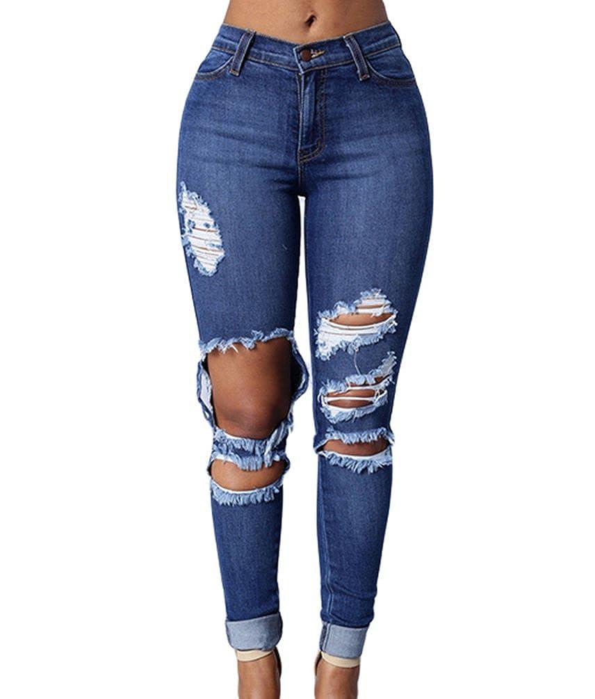 TALLA S. ZKOO Rotos Agujero Vaqueros Mujer Elásticos Skinny Jeans Pantalones Algodón Push up Flacos Jeans Leggings Elásticos