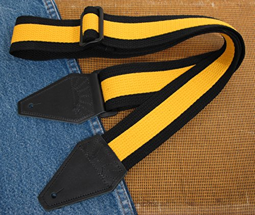 Rally Yellow & Black Super Solid Cotton USA-made TROPHY Guitar Strap