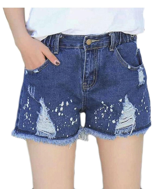 Alion Women's Stylish Cotton Cowboy High Waisted Stretch Beachwear Hot Shorts Pants