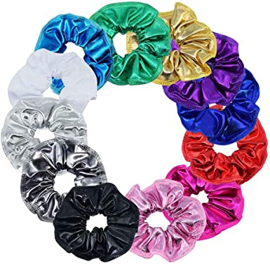 New Girls White with Metallic Unicorn Print Scrunchie Hair Elastic Bobble Gift