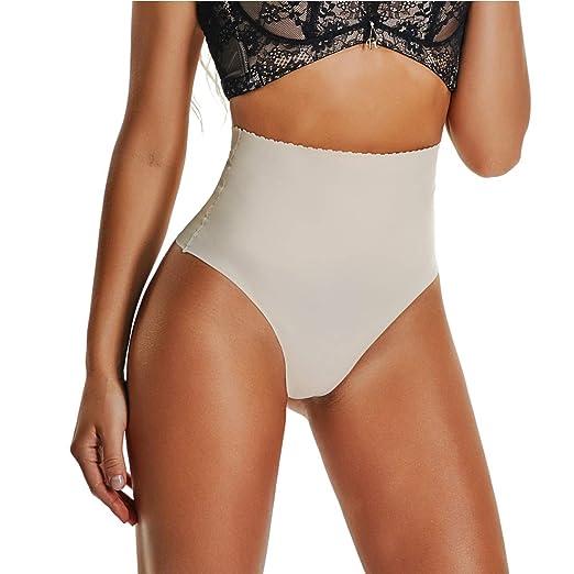 2921a5a94 High Waist Tummy Control Underwear Seamless Thong Shapewear Tummy Shaper  for Women Slimming (Beige