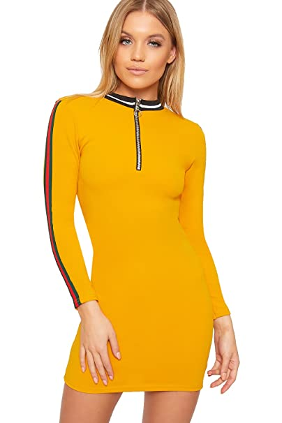 2e6695c6c9fb WearAll Women's Long Sleeve Contrast Striped Zip Neck Ladies Stretch  Bodycon Mini Dress - Mustard -