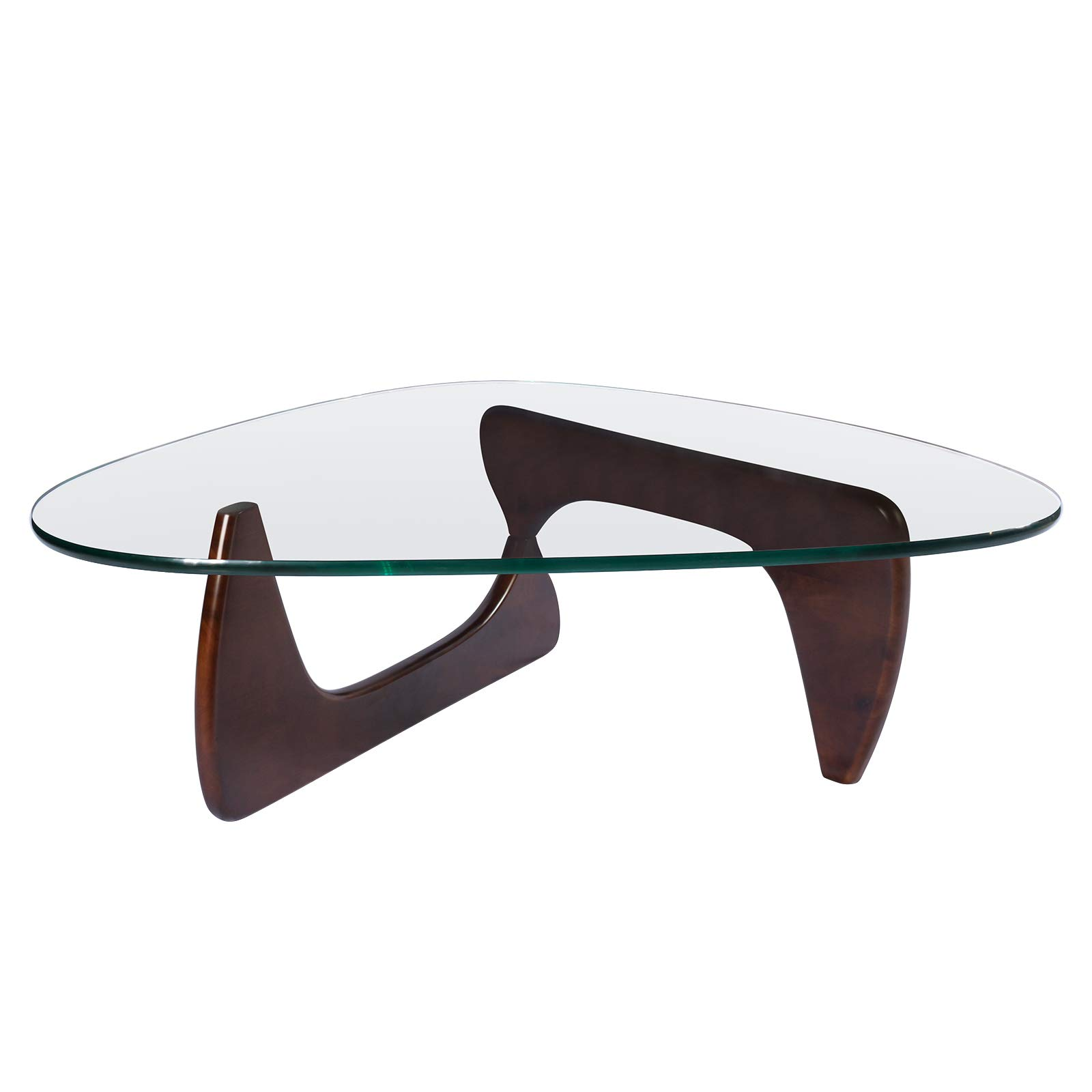 Rimdoc Triangle Glass Coffee Table,Mid Century Noguchi Coffee Table,Vintage Wood Glass Table,Solid Walnut Wood Base and Clear Glass Top Modern Coffee Table for Living Room,Patio,Study(Dark Walnut) by Rimdoc