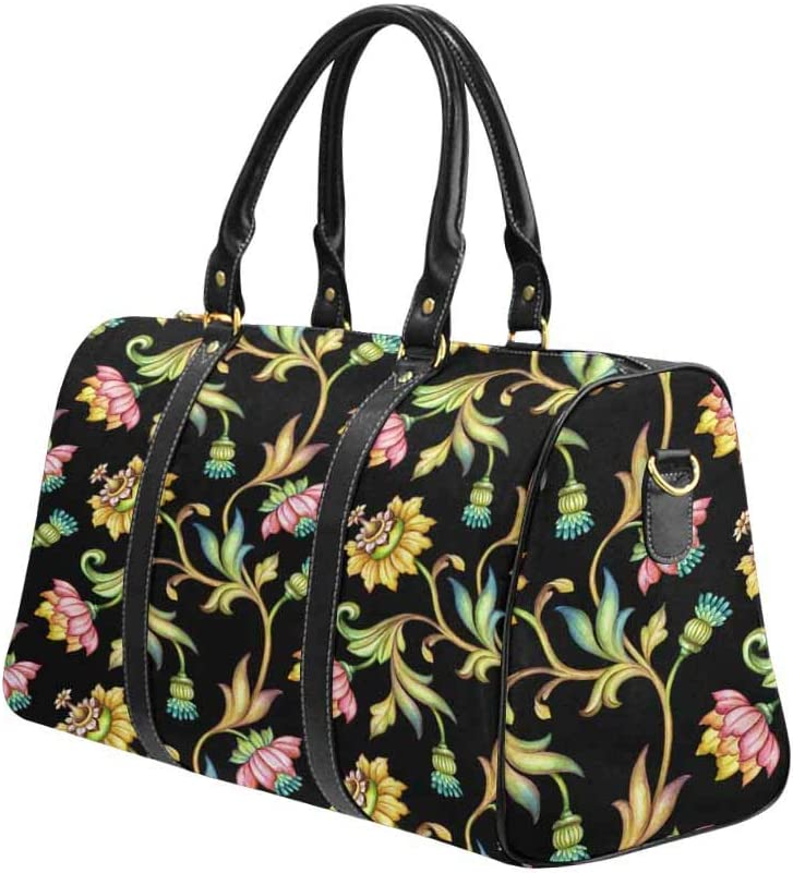 InterestPrint Large Duffel Bag Flight Bag Gym Bag Colorful Flowers and Leaves