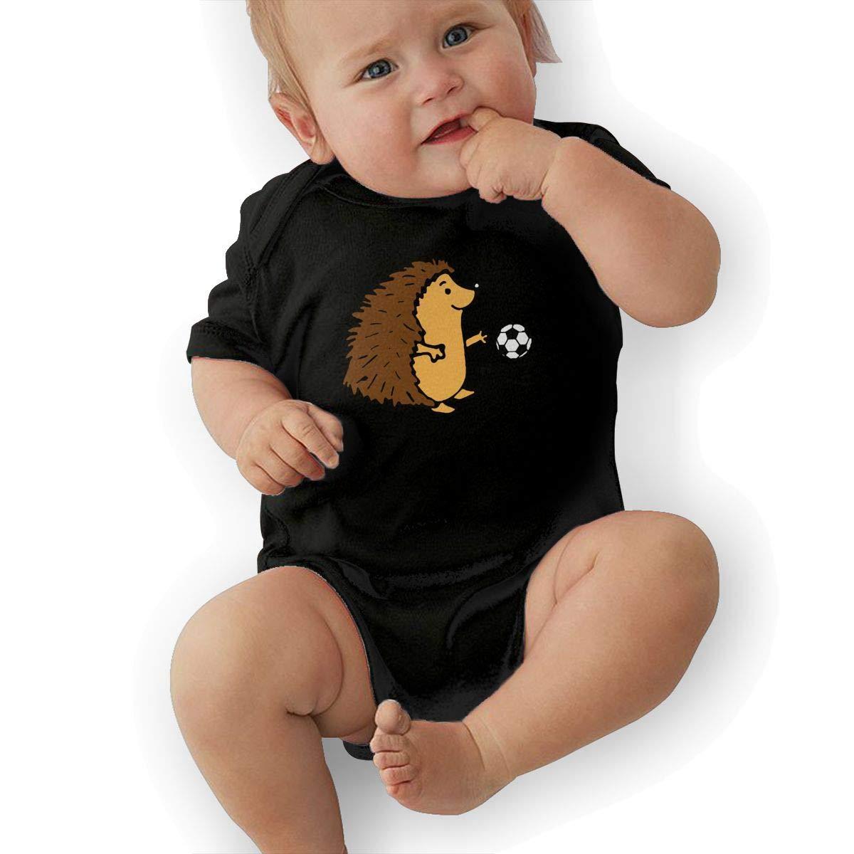 Mri-le2 Baby Boy Short Sleeve Organic Bodysuits Hedgehog Playing Soccer Infant Romper Jumpsuit